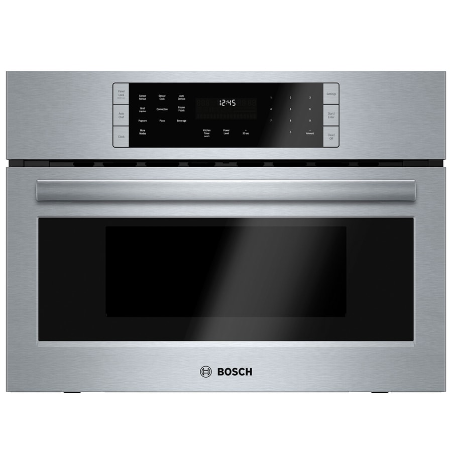 bosch 800 1 6 cu ft built in microwave with sensor cooking controls and speed cook stainless steel