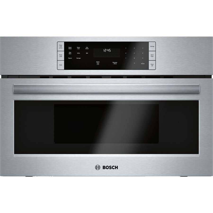 bosch 500 1 6 cu ft built in microwave with sensor cooking controls stainless steel
