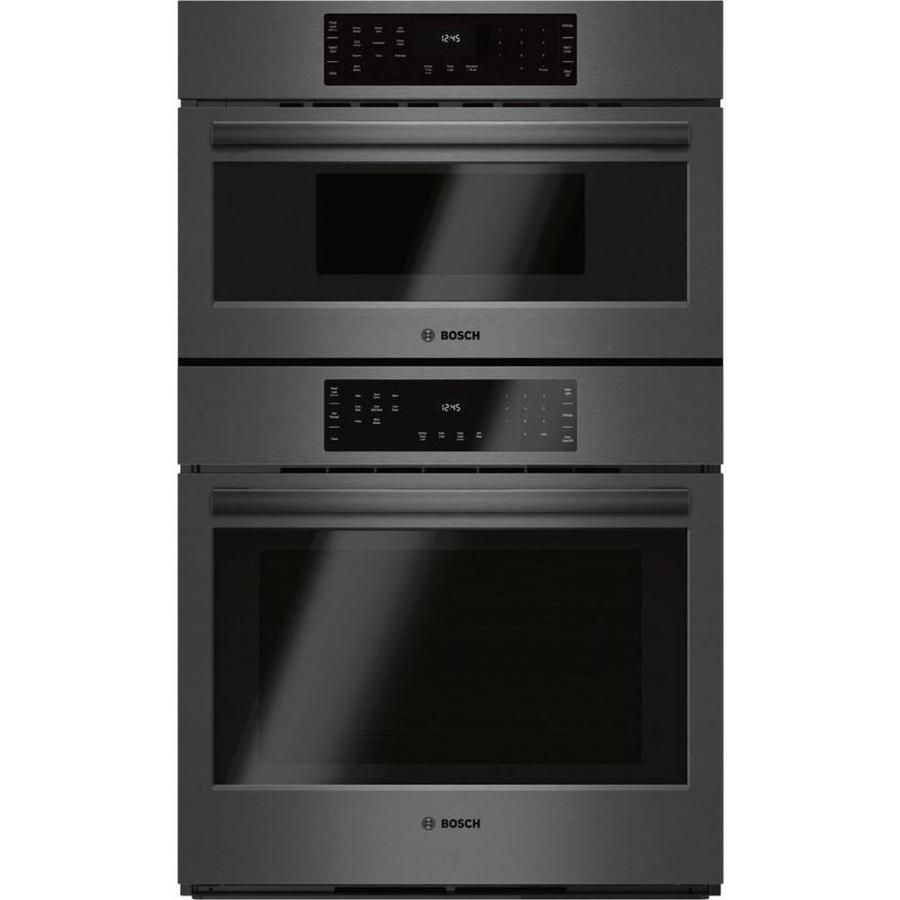 bosch 30 in self cleaning convection european element microwave wall oven combo black stainless steel