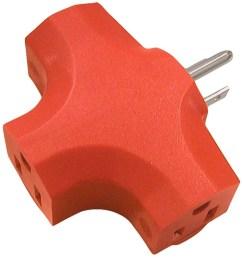 15 amp 3 wire grounding single to triple orange basic adapter [ 900 x 900 Pixel ]
