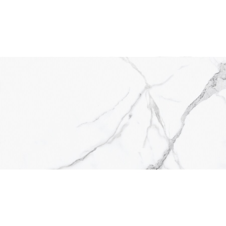 satori statuario polished 12 in x 24 in polished porcelain marble look floor and wall tile