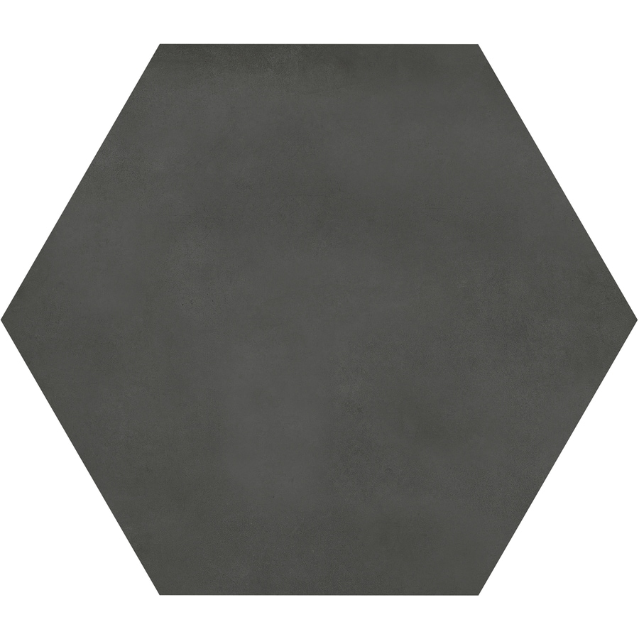 satori nouveau nero hexagon 7 in x 7 in matte porcelain encaustic floor and wall tile lowes com