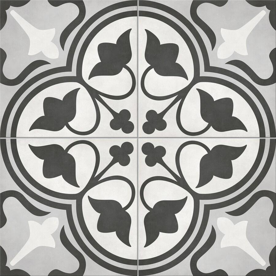 satori nouveau flora deco 8 in x 8 in matte porcelain encaustic floor and wall tile