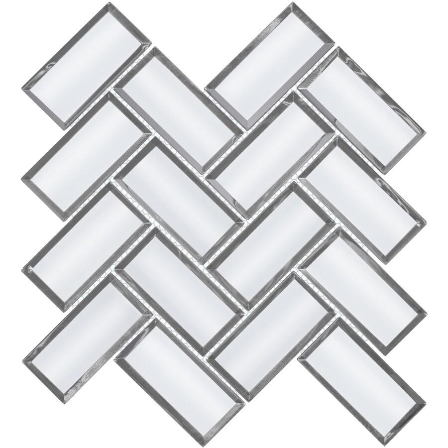 satori skylight beveled 11 in x 11 in mirrored glass herringbone wall tile
