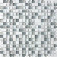 Shop allen + roth Venatino Stone And Glass Uniform Squares ...