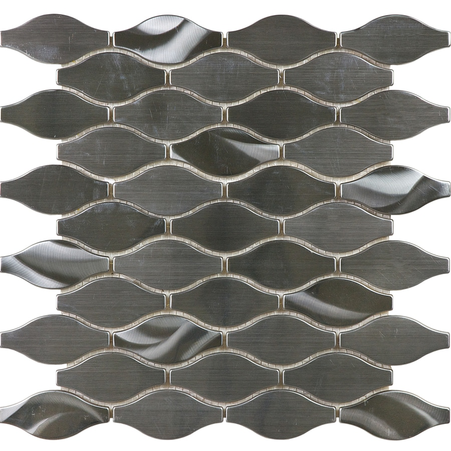 allen roth metal twist 12 in x 12 in metallic stainless steel wave wall tile