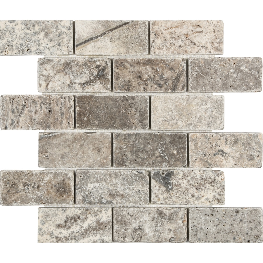 medium resolution of anatolia tile silver crescent brick mosaic travertine subway wall tile common 12 in