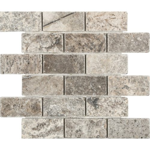 small resolution of anatolia tile silver crescent brick mosaic travertine subway wall tile common 12 in