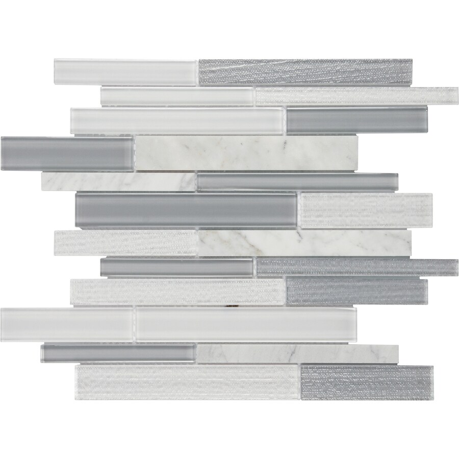 satori mystique winter 12 in x 12 in multi finish glass marble linear wall tile lowes com