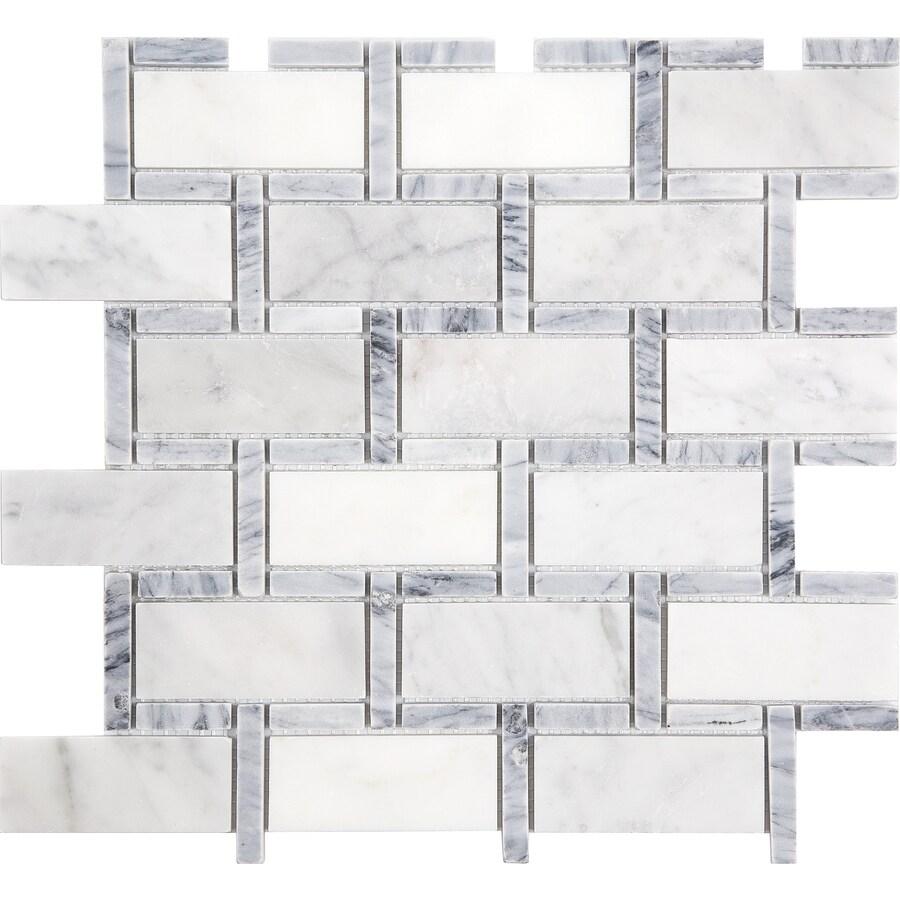 satori carrara grigio 12 in x 12 in polished natural stone marble brick subway wall tile
