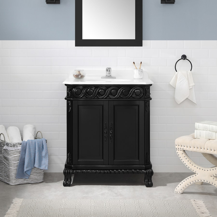 Ove Decors Trent 30 In Antique Black Single Sink Bathroom Vanity With White Cultured Marble Top In The Bathroom Vanities With Tops Department At Lowes Com