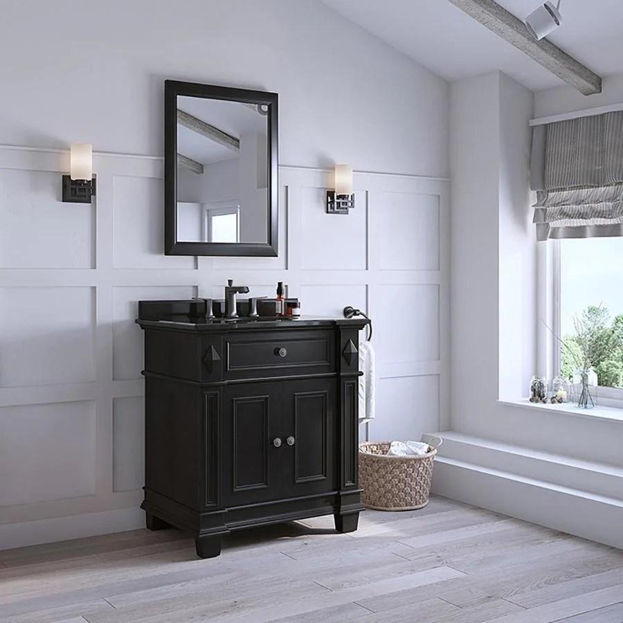 ove decors essex 31 in antique black single sink bathroom vanity with black granite top lowes com
