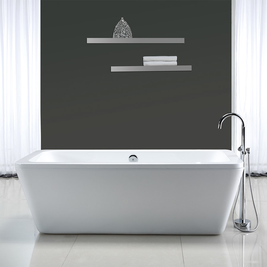 Ove Decors Kido  In Gloss White Acrylic Freestanding Bathtub With Center Drain