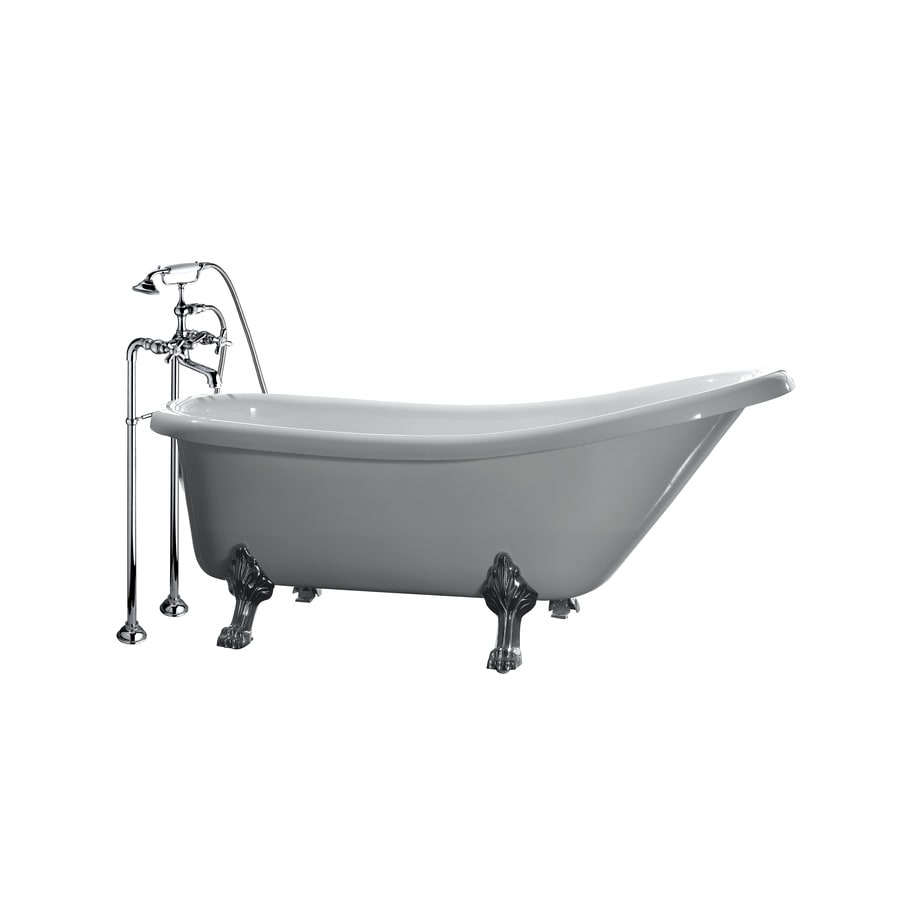 Shop OVE Decors 66 In Gloss White With Front Center Drain Bathtub And Faucet Included At