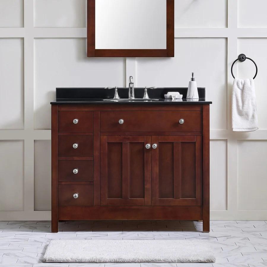 Ove Decors Adam 42 In Dark Cherry Single Sink Bathroom Vanity With Black Granite Top In The Bathroom Vanities With Tops Department At Lowes Com