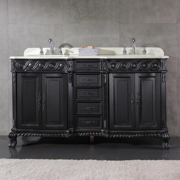 Ove Decors Trent Antique Black Undermount Double Sink Birch Bathroom Vanity With Cultured