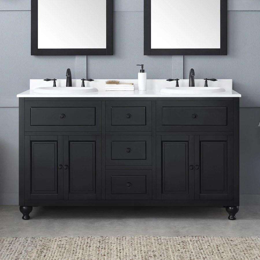 ove decors kensington 60 in antique black drop in double sink bathroom vanity with white engineered stone top