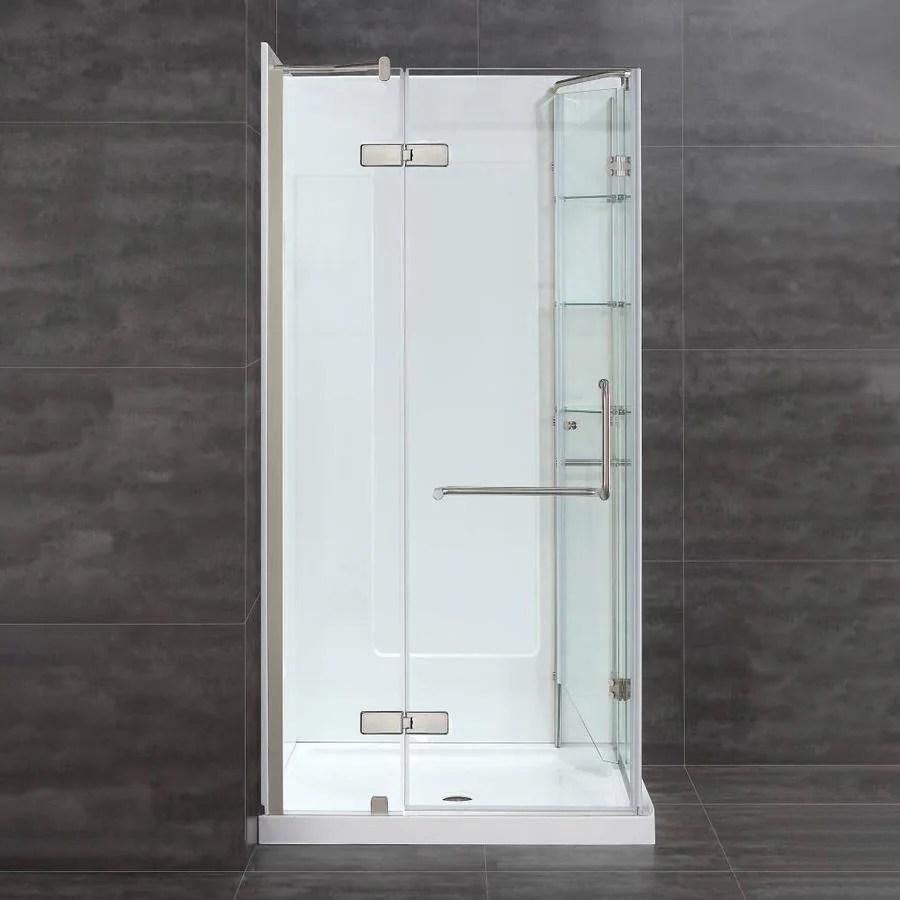 hight resolution of ove decors savannah brushed nickel floor rectangle corner shower kit actual 74 in