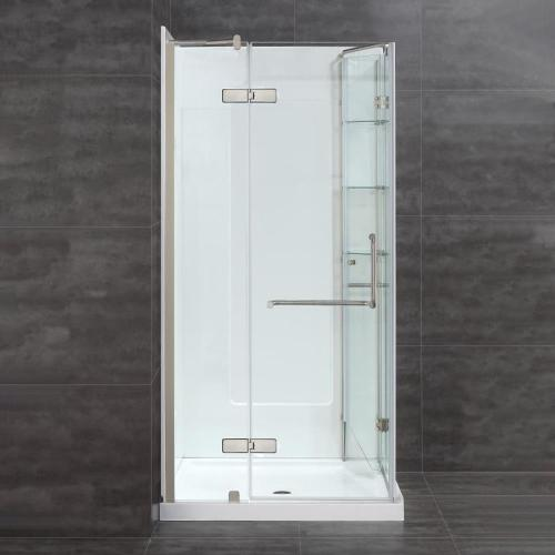 small resolution of ove decors savannah brushed nickel floor rectangle corner shower kit actual 74 in