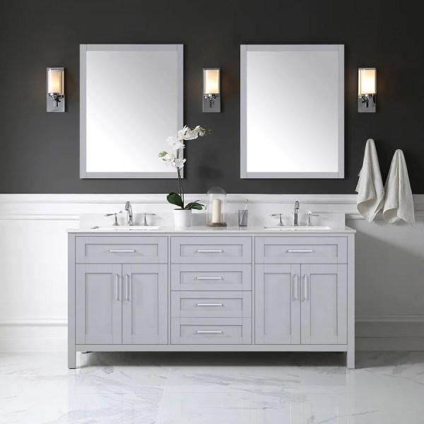 gray double sink bathroom vanity Shop OVE Decors Tahoe Dove Gray Double Sink Vanity with