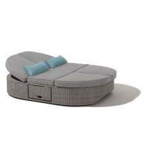 Ove Decors Sandra Wicker Outdoor Daybed With Solid Gray