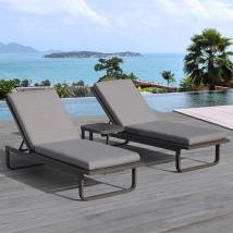 Ove Decors Vienna Set Of 2 Gray Aluminum Patio Chaise