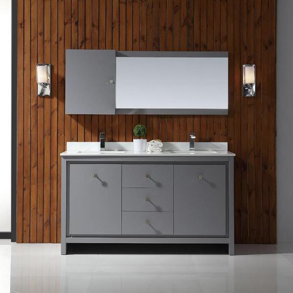 gray double sink bathroom vanity Shop OVE Decors Kevin Pebble gray Undermount Double Sink Bathroom Vanity with Cultured Marble