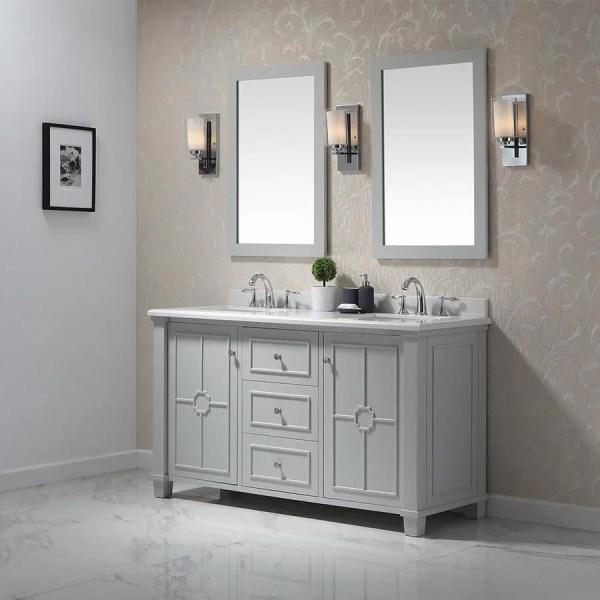 gray double sink bathroom vanity Shop OVE Decors Positano Dove gray Double Sink Vanity with Yves Natural Marble Top (Common: 60