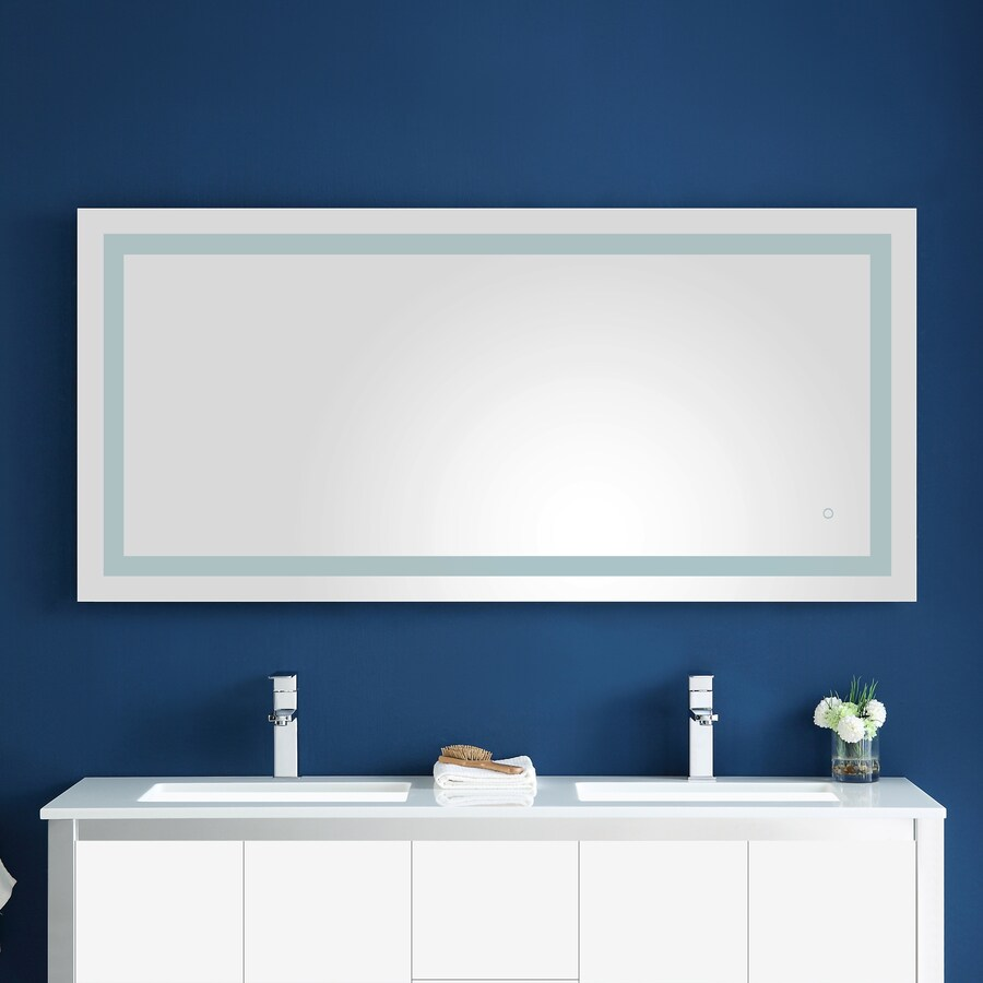 Ove Decors Atlas 60 06 In Lighted Led White Rectangular Frameless Bathroom Mirror In The Bathroom Mirrors Department At Lowes Com