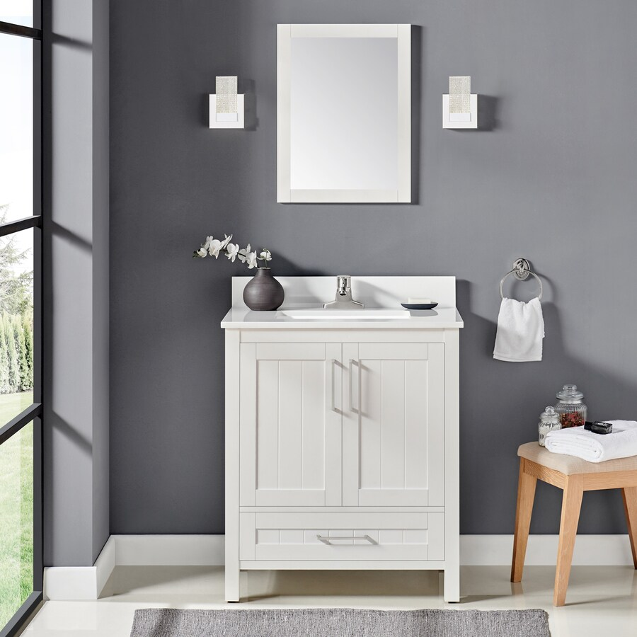 Ove Decors Cliff 30 In White Single Sink Bathroom Vanity With White Cultured Marble Top Mirror Included In The Bathroom Vanities With Tops Department At Lowes Com