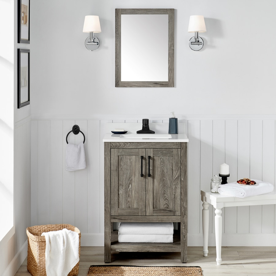 Ove Decors Charles 24 In Weathered Gray Single Sink Bathroom Vanity With White Cultured Marble Top Mirror Included In The Bathroom Vanities With Tops Department At Lowes Com