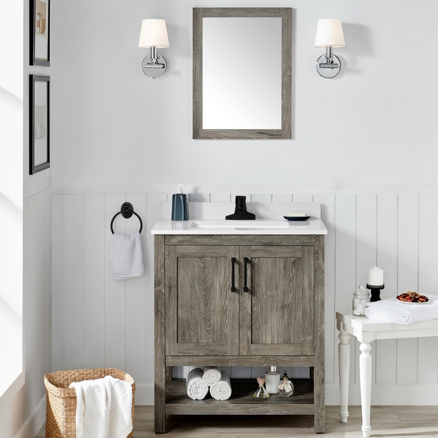 Ove Decors Charles 30 In Weathered Gray Single Sink Bathroom Vanity With White Cultured Marble Top Mirror Included In The Bathroom Vanities With Tops Department At Lowes Com