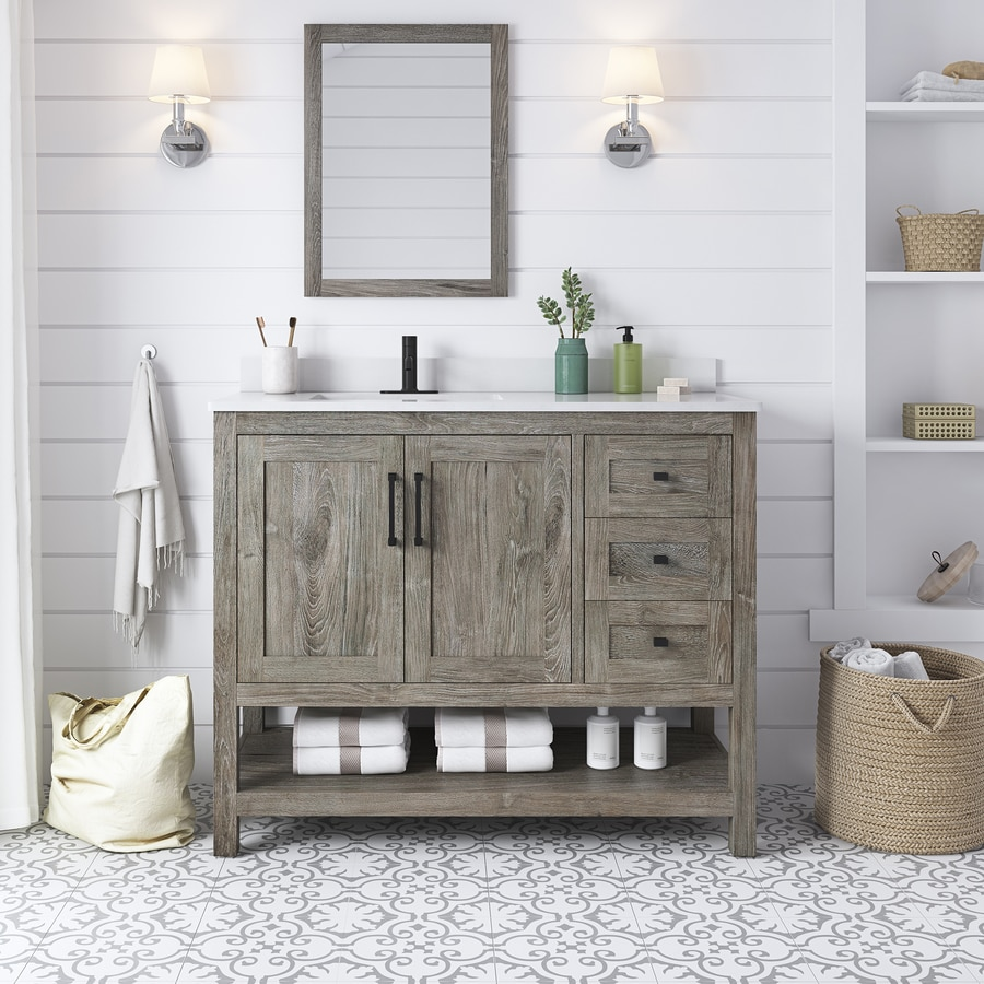 Ove Decors Charles 42 In Weathered Gray Single Sink Bathroom Vanity With White Cultured Marble Top Mirror Included In The Bathroom Vanities With Tops Department At Lowes Com