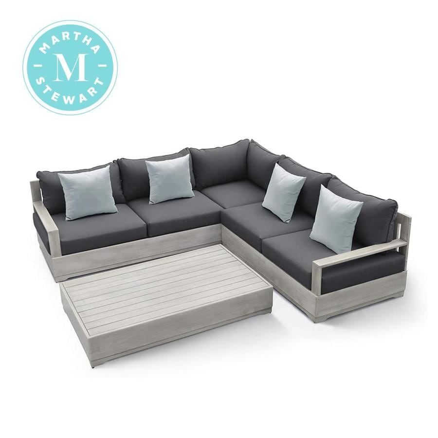 martha stewart hillcrest 3 piece wood frame patio conversation set with polyester cushion s included lowes com
