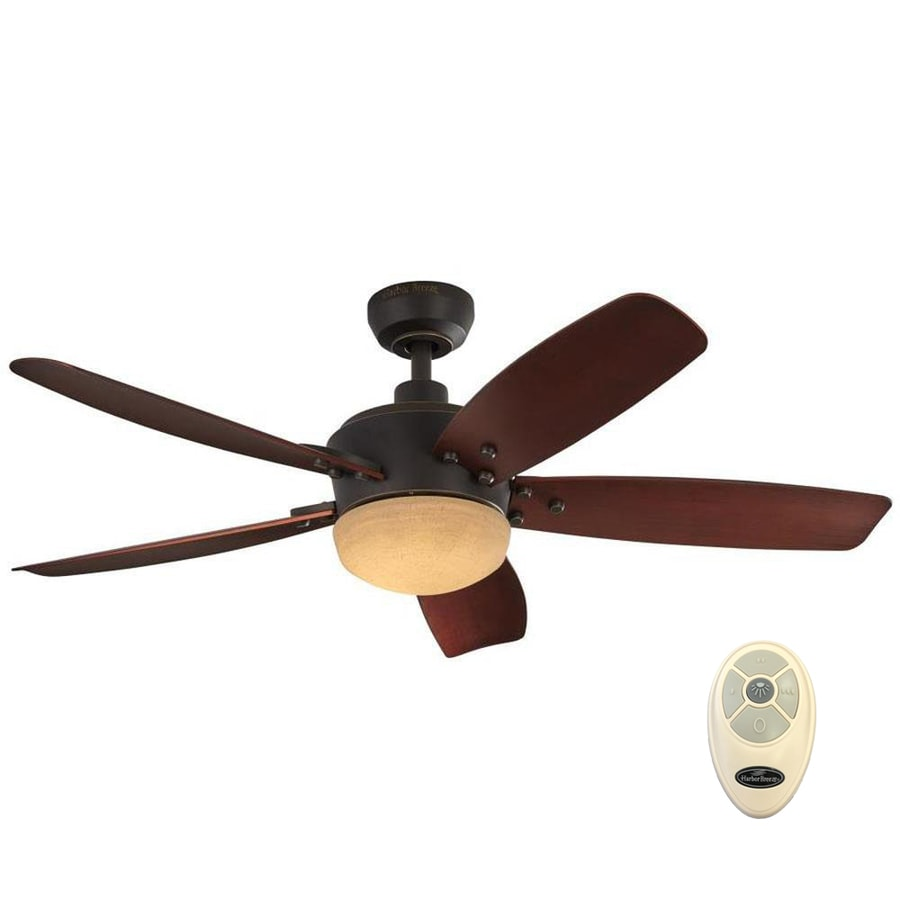 harbor breeze saratoga 48 in oil rubbed bronze led indoor outdoor ceiling fan with light and remote 5 blade