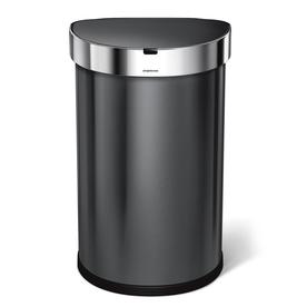 stainless steel kitchen trash can top rated stoves cans at lowes com simplehuman semi round sensor 45 liter black touchless with