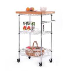 White Kitchen Islands Cabinet Layout Ideas Carts At Lowes Com Style Selections 3 Tier Chrome Utility Cart
