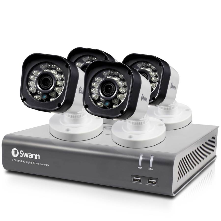 hight resolution of swann analog wired outdoor 4 pack security camera kit with night vision
