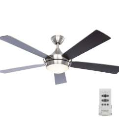 fanimation studio collection aire drop 52 in brushed nickel led indoor ceiling fan with light kit and remote 5 blade  [ 900 x 900 Pixel ]