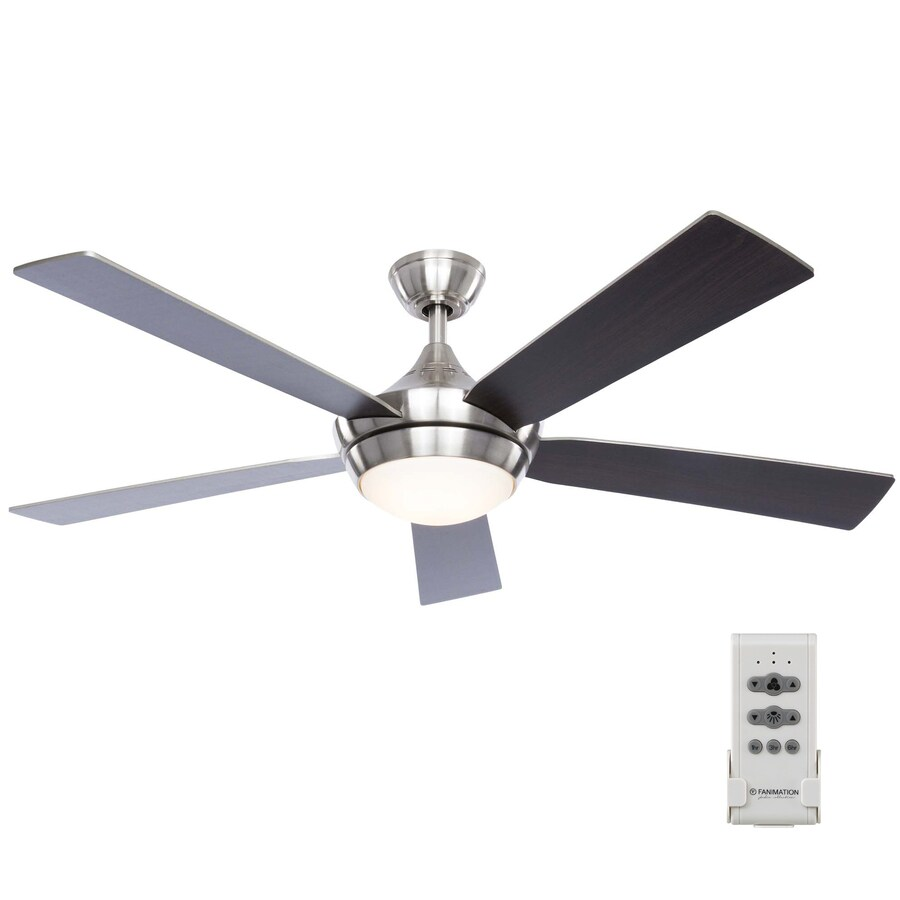 hight resolution of fanimation studio collection aire drop 52 in brushed nickel led indoor ceiling fan with light kit and remote 5 blade