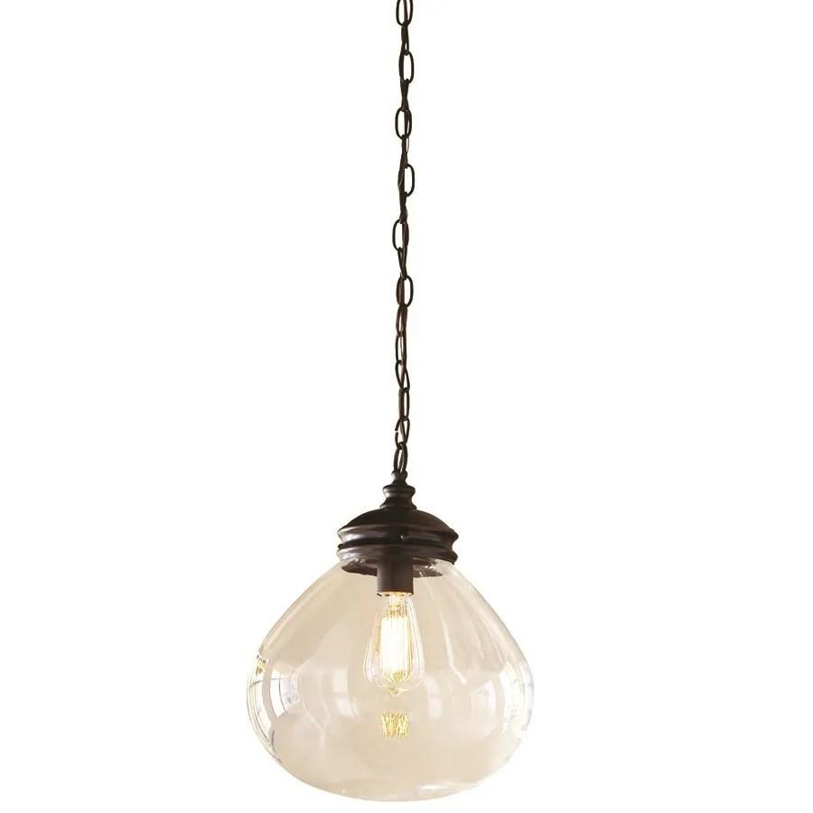 allen roth bristow oil rubbed bronze coastal clear glass globe pendant light
