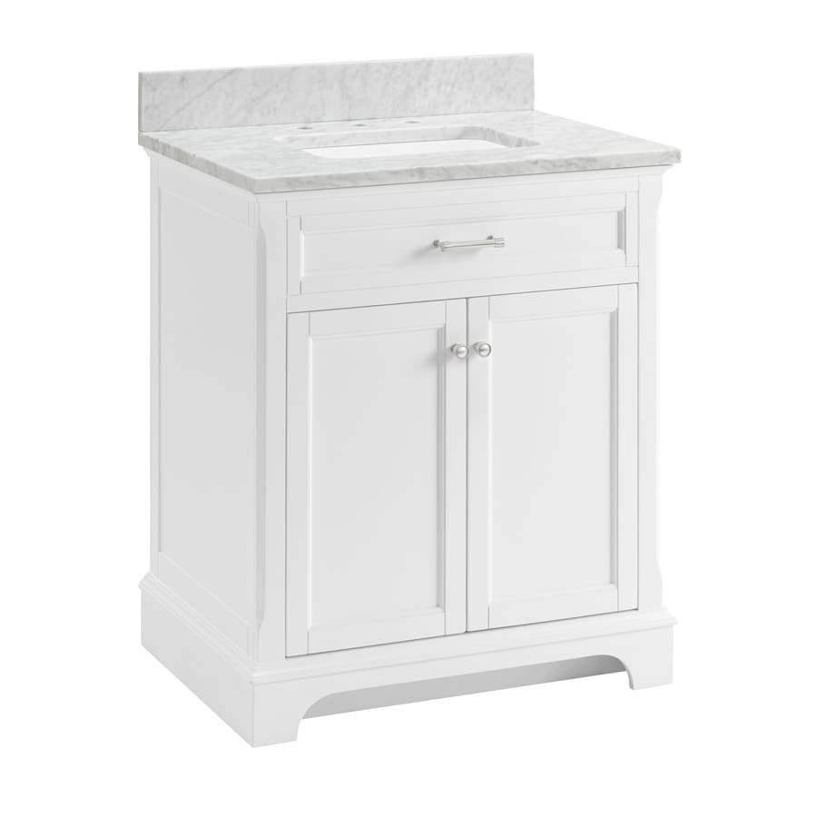 Scott Living Roveland 30 In White Single Sink Bathroom Vanity With Natural Carrara Marble Top In The Bathroom Vanities With Tops Department At Lowes Com
