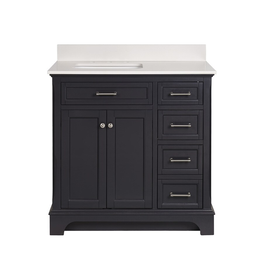 Scott Living Roveland 36 In Dark Gray Single Sink Bathroom Vanity With White Engineered Stone Top In The Bathroom Vanities With Tops Department At Lowes Com
