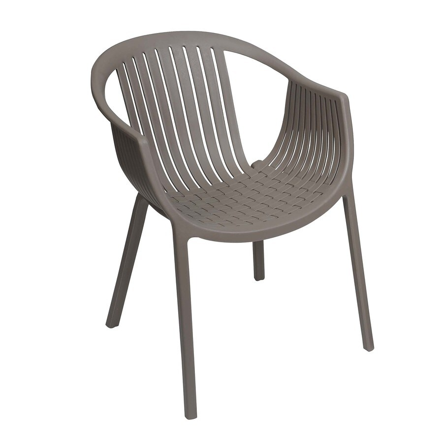 Shop Sunjoy Taupe Plastic Stackable Patio Dining Chair at