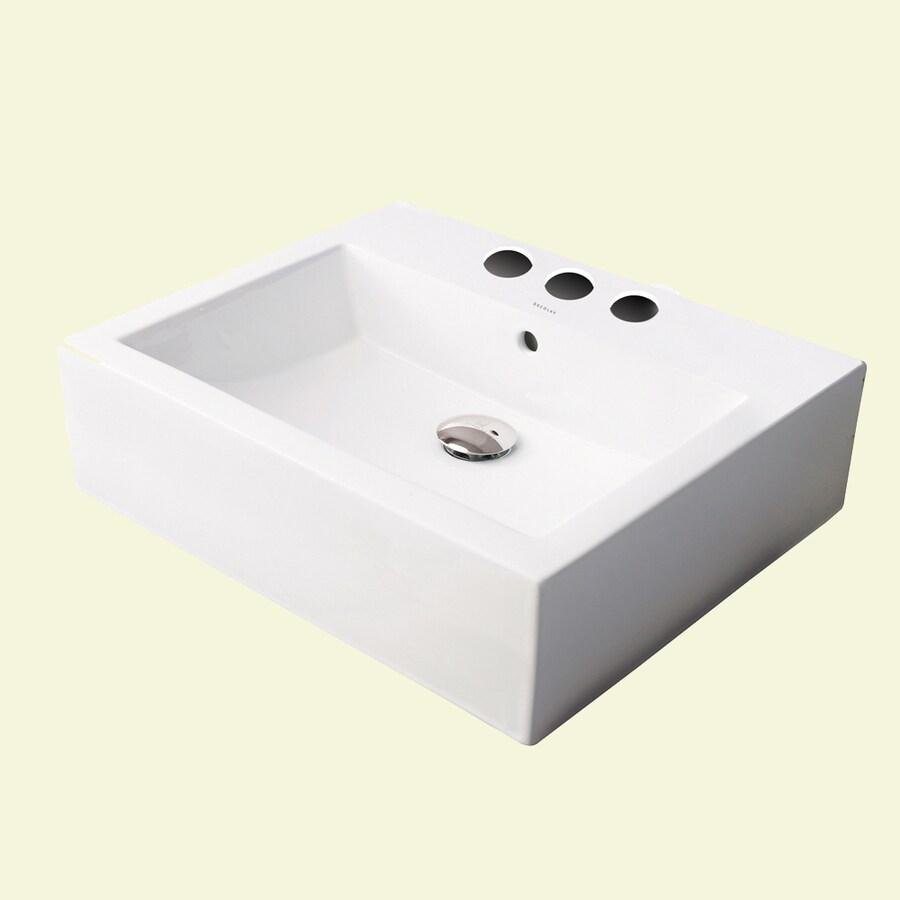DECOLAV Classically Redefined Ceramic White Vessel Square