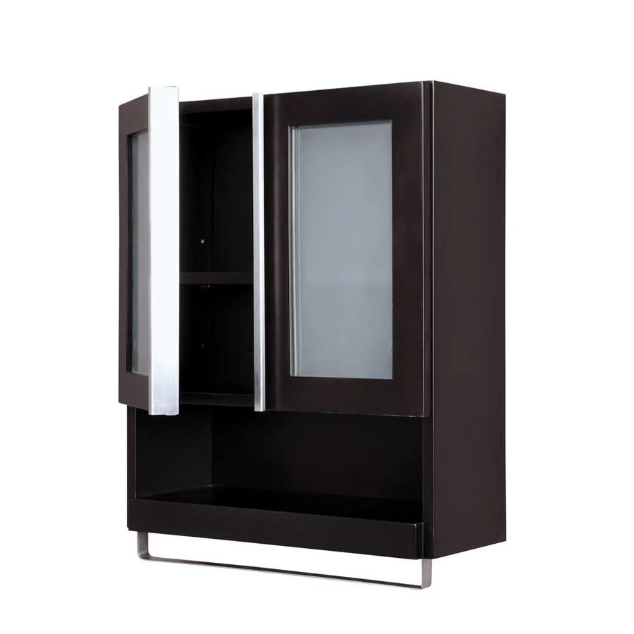Shop DECOLAV Tyson 22in W x 26in H x 888in D Espresso Birch Bathroom Wall Cabinet at Lowescom