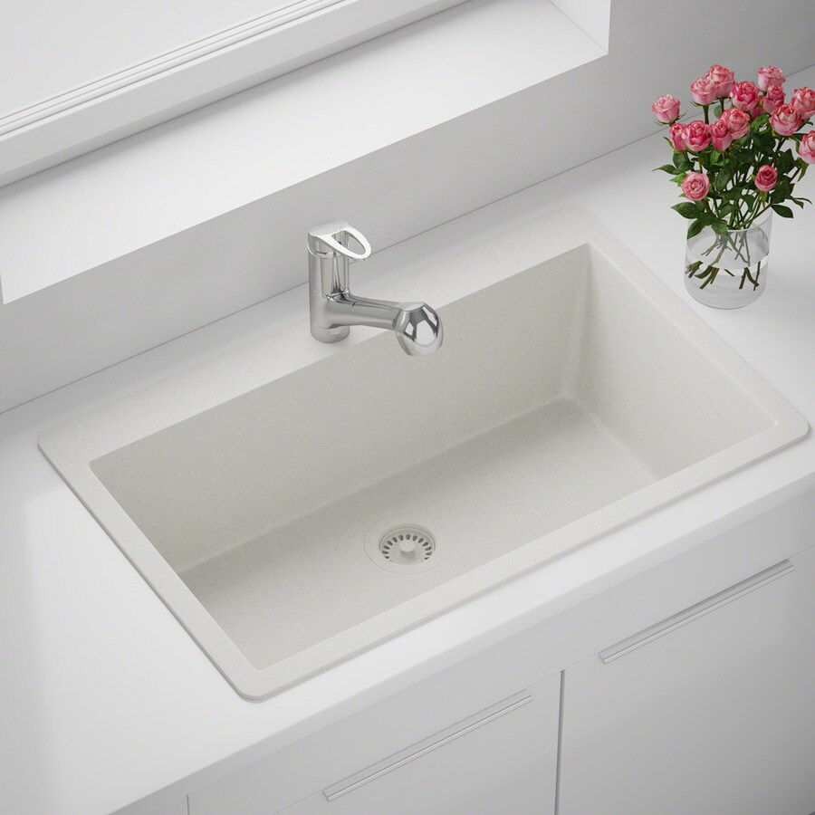 mr direct drop in 33 in x 21 in white single bowl 5 hole kitchen sink