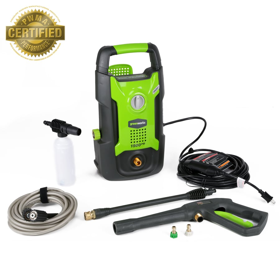 medium resolution of greenworks 1500 psi 1 2 gallon gpm cold water electric pressure washer