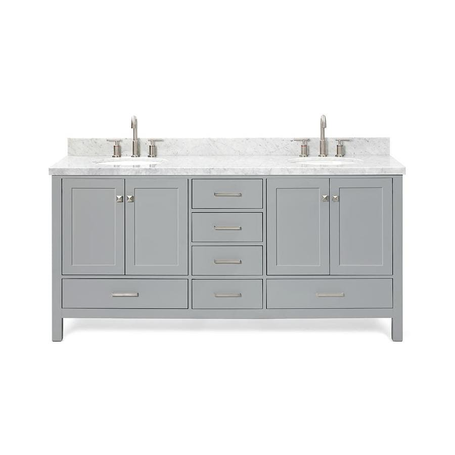 ariel cambridge 73 in gray undermount double sink bathroom vanity with white natural marble top