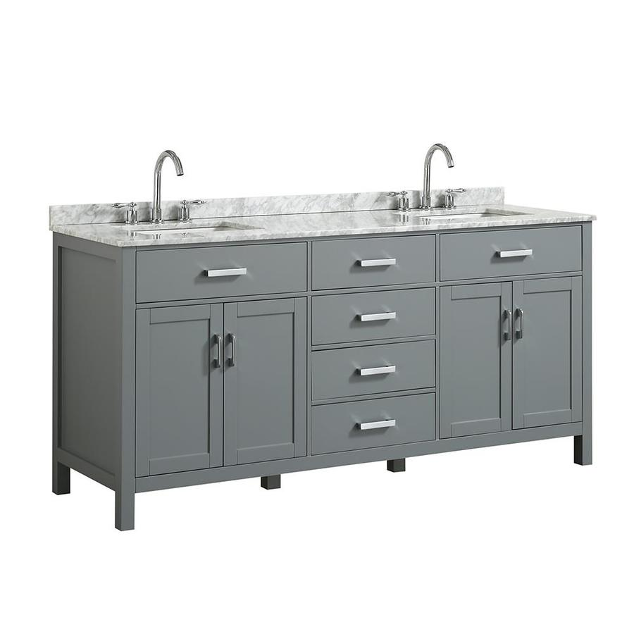 Beaumont Decor Hampton 73 In Gray Double Sink Bathroom Vanity With White Natural Marble Top In The Bathroom Vanities With Tops Department At Lowes Com